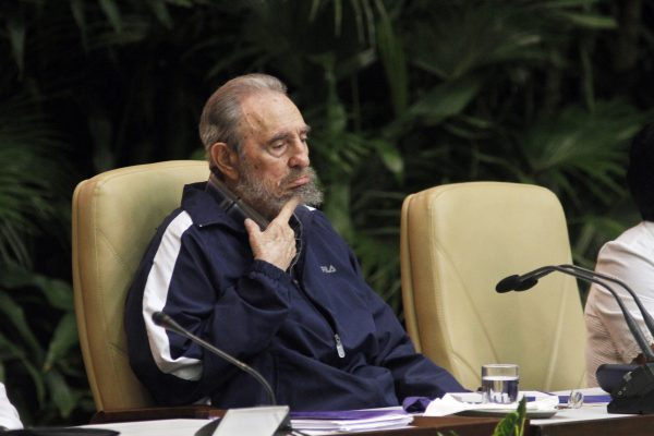 Fidel Castro listens to a speech during the closing session of the 6th Party Congress after his brother Raul Castro had been officially elected as Fidel Castro's successor as head of Cuba's ruling communist Party PCC in the Palacio de las Convenciones on April 19, 2011 in Havana, Cuba. (Photo by Sven Creutzmann/Mambo Photo/Getty Images)
