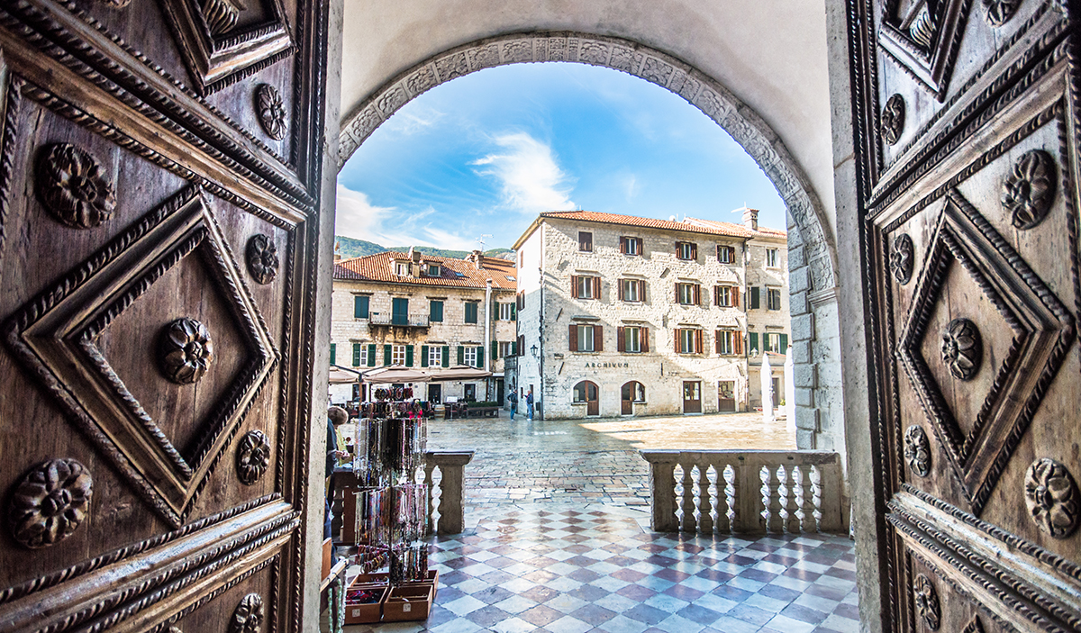 View through The Cathedral of Saint Tryphons door in Kotor, Montenegro