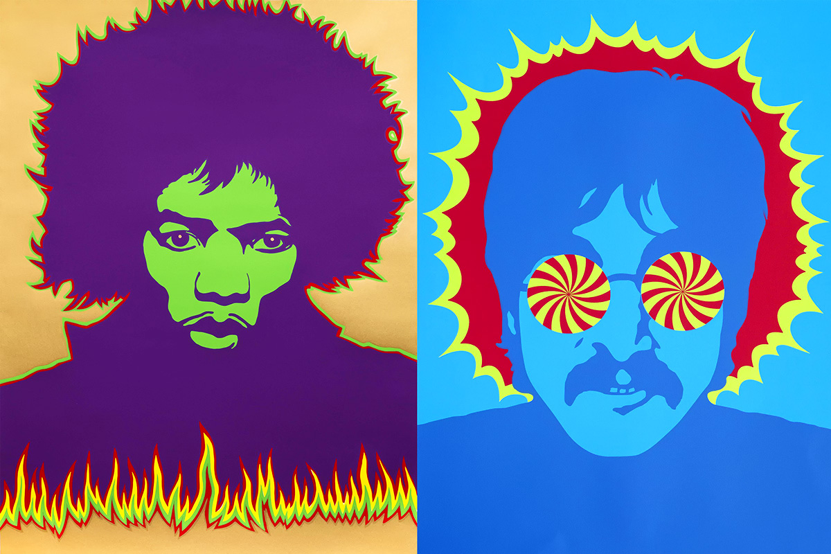 Jimi Hendrix 1967 - Larry Smart © Victoria and Albert Museum, London Lennon, Kaleidoscope Eyes 1967 - Larry Smart © Private Collection/Bridgeman Images