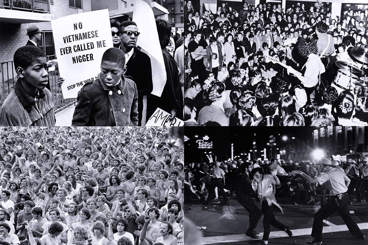'Harlem Peace March 1967, ph. Builder Levy © Victoria and Albert Museum - Jimi Hendrix al Piper di Milano, 1968, ph.© Renzo Chiesa - Woostock Music & Art Fair, 1969 ph.Baron Wolman/Getty Images - Scontri fra dimostranti e polizia a Chicago, 28 08 1968, ph. Paul Sequeira/Getty Images