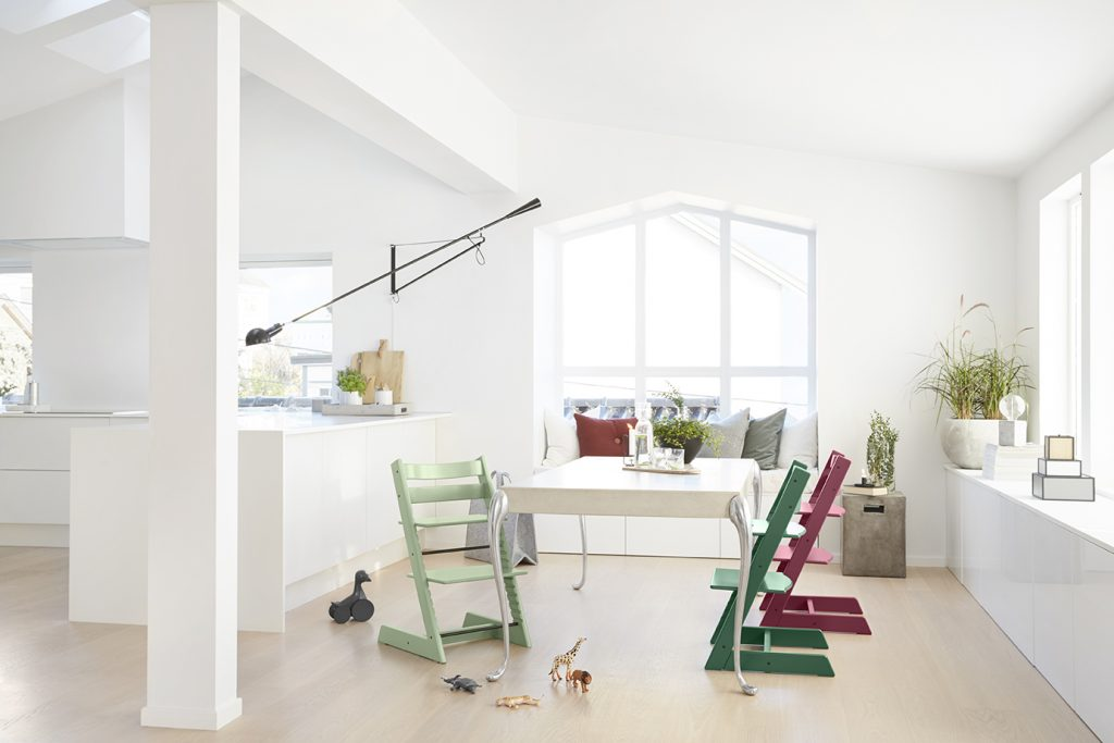 Tripp Trapp®, Moss Green, Forest Green and Heather Pink.
