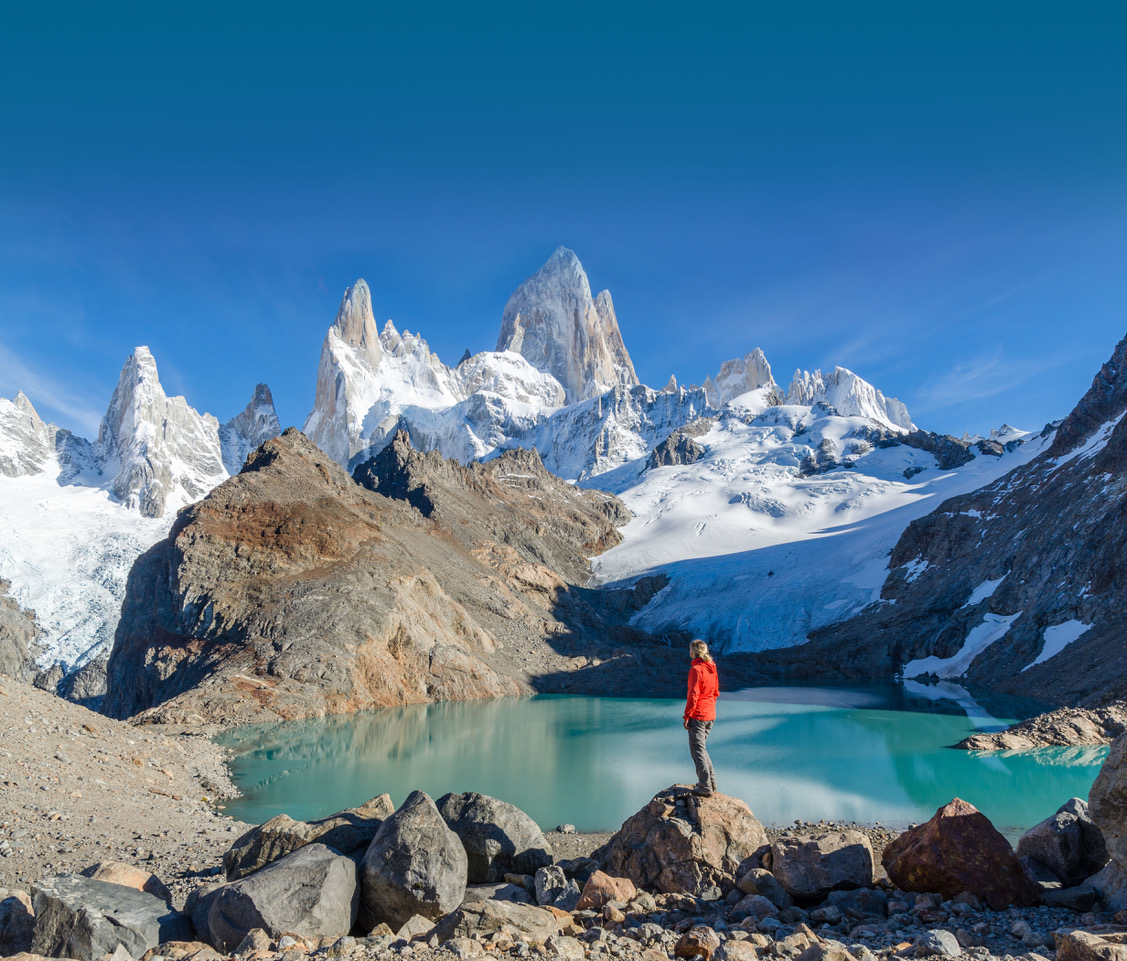 Woman admiring Fitz Roy; Shutterstock ID 375632551; Project details: -