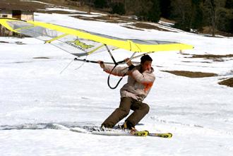 kite wing sulla neve
