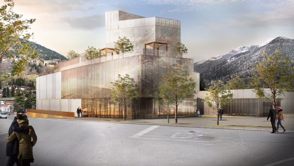 Rendering del futuro centro termale wellness di Ponte di Legno