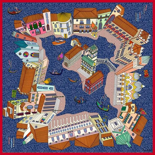 Un foulard Kinloch, con Venezia vista dall'alto