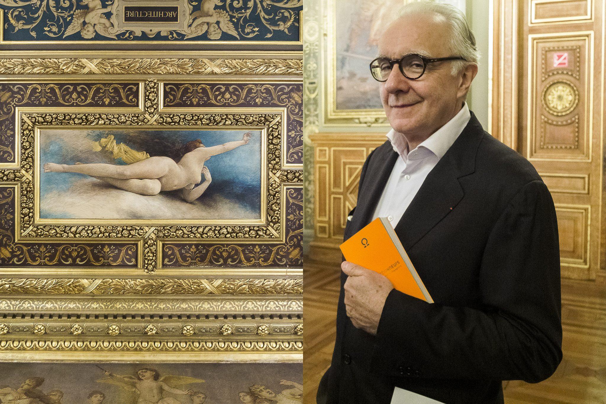 Lo chef Alain Ducasse, con la guida arancione di Les Collectionneurs