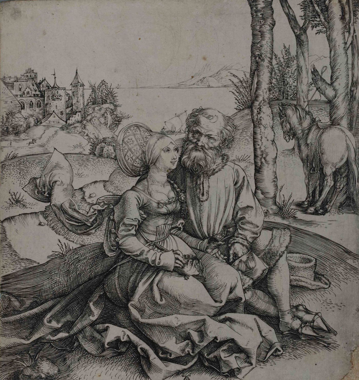 """Albrecht Dürer, """"Giuda e Tamar"""", 1495 circa, incisione a bulino"""