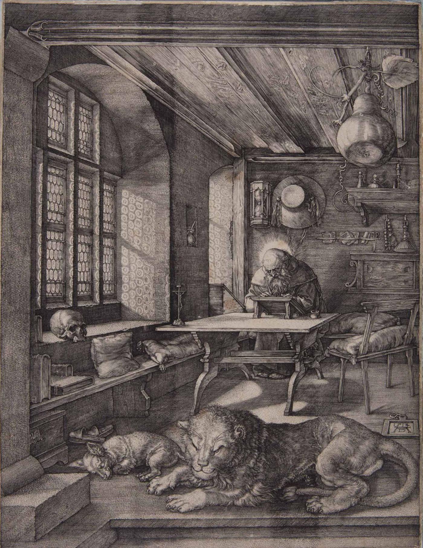 """Albrecht Dürer, """"San Gerolamo nella cella"""", incisione a bulino"""