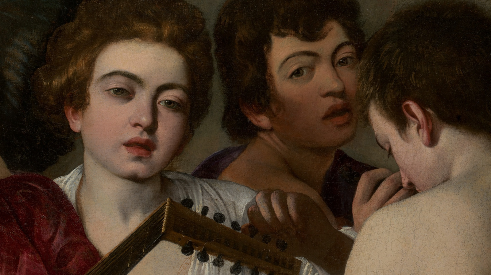 A detail of The Musicians, painted by Caravaggio.