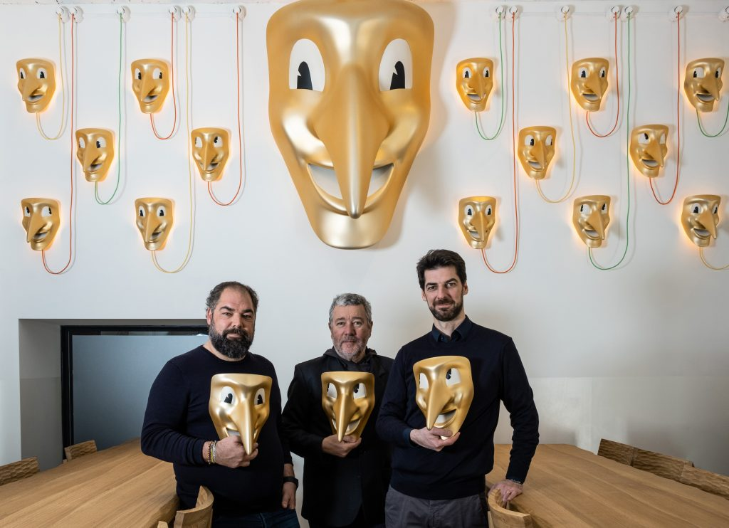 Architect & Designer Philippe Starck between the Alajmo Brothers: Raf (left) and Max (right).