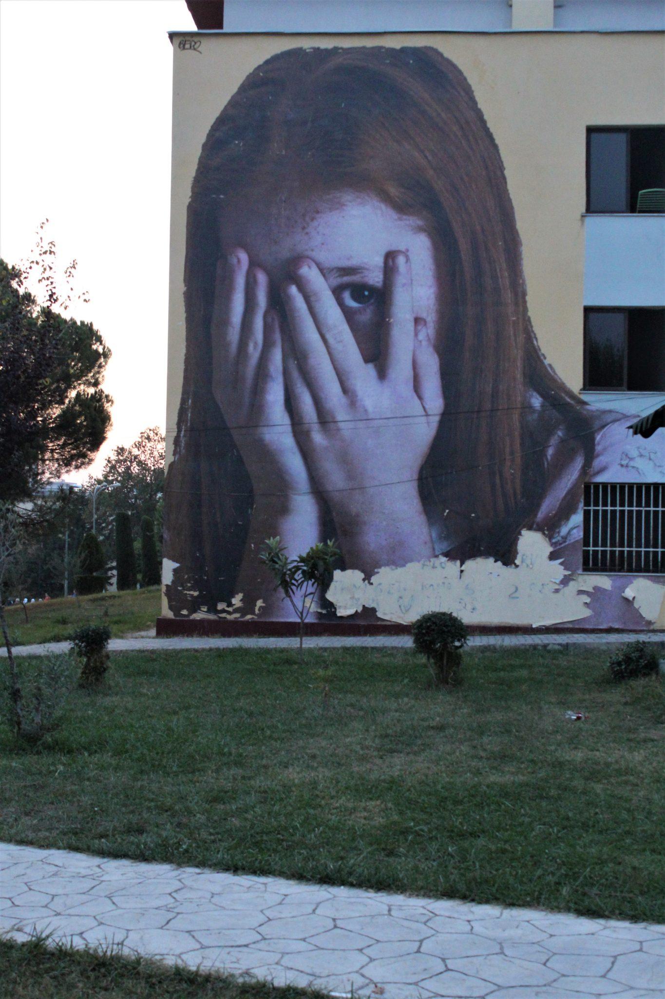 Il murale di Bifido a Tirana realizzato durante la prima edizione del MurAL Fest nel 2018 ©Francesca Masotti