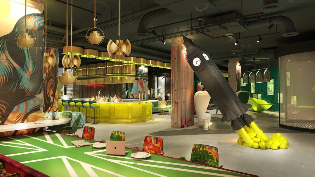 Rendering della lobby del nhow London con il missile Big Ben