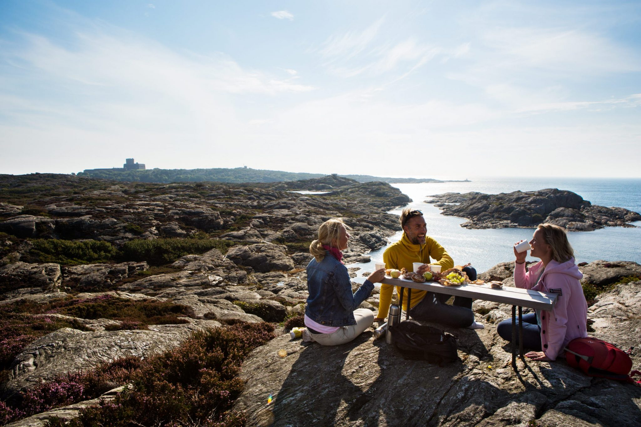Picnic on the cliffs_ next to a bench_ with a view