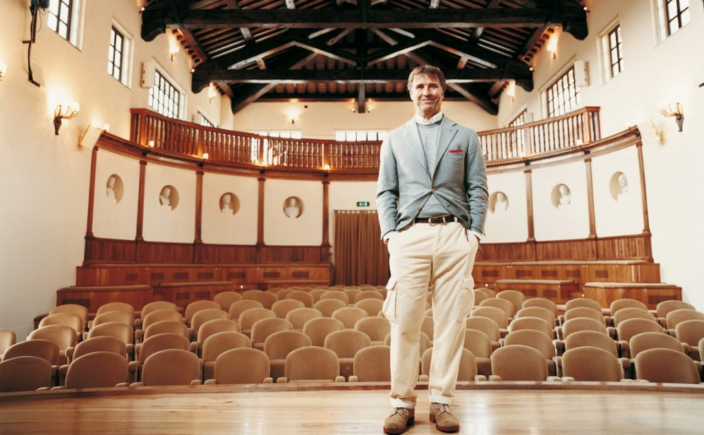 Brunello Cucinelli in his theater in Solomeo, Umbria