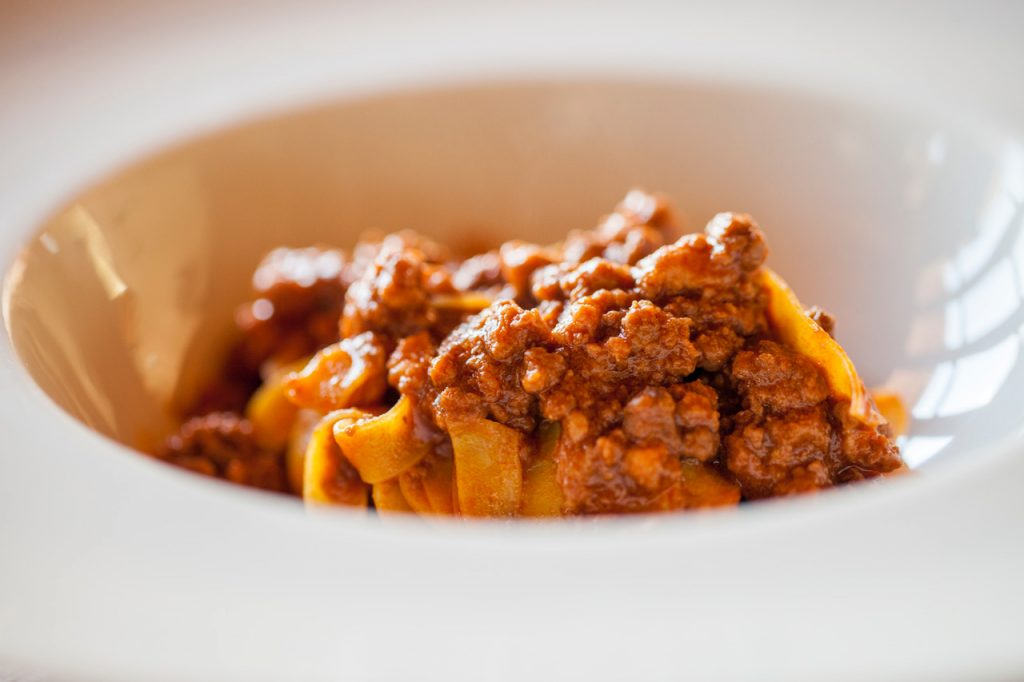 Tagliatelle with meat ragù, typical dish of Bologna area.