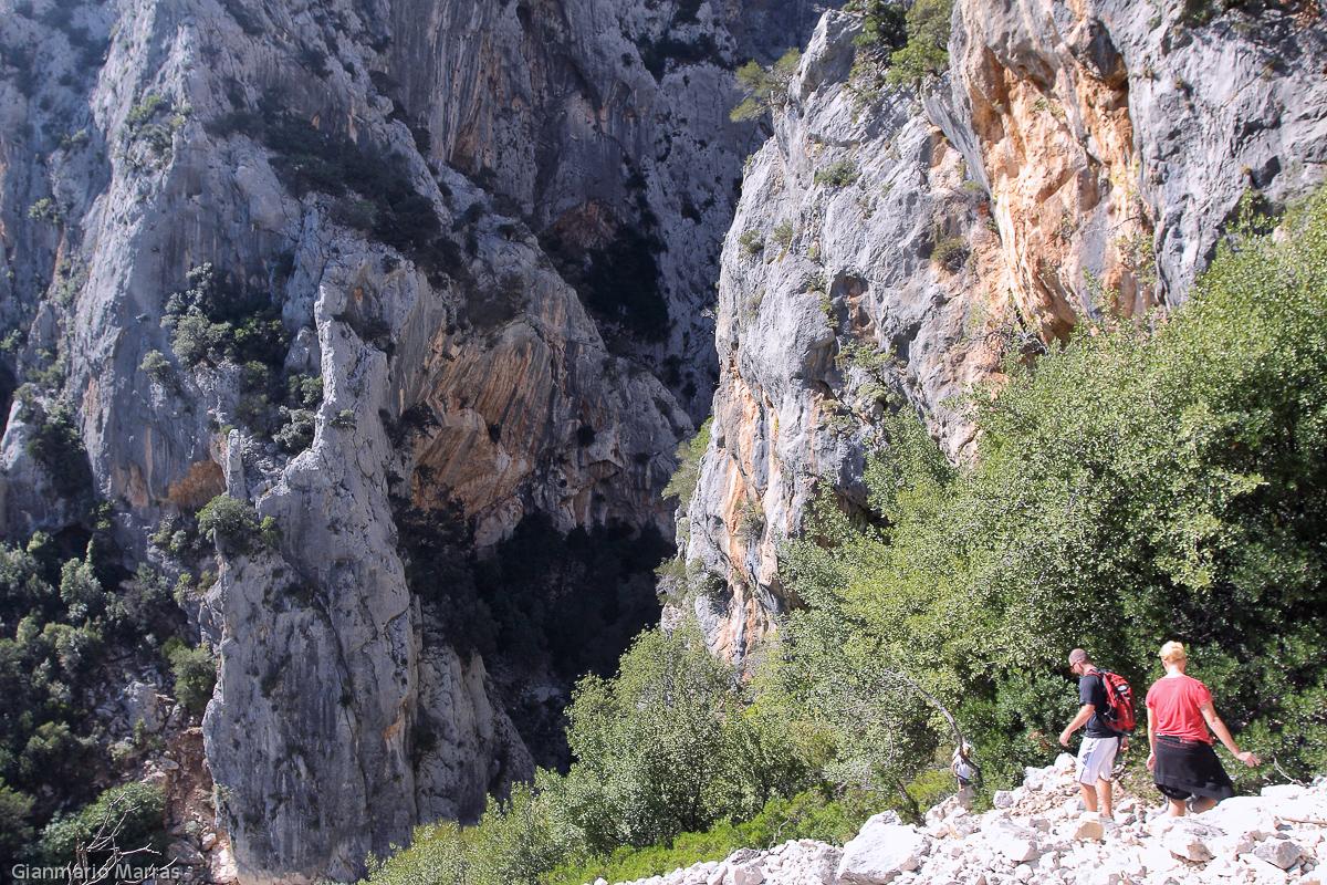 Supramonte - Il canyon di Su Gorropu , le sue pareti verticali raggiungono i 500 metri.